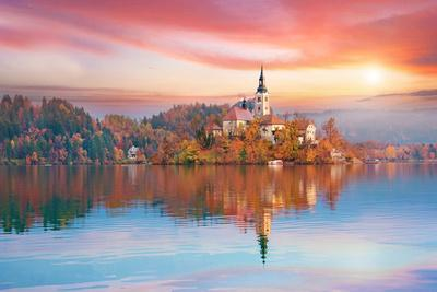 Magical Autumn Landscape with the Island on Lake Bled (Blejsko Jezero). Julian Alps, Slovenia, Euro