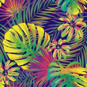 Bright Tropical Pattern with Exotic Fronds by Andriy Lipkan