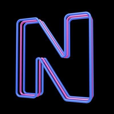 3D Neon Alphabet, Letter N Isolated On Black Background by Andriy Zholudyev