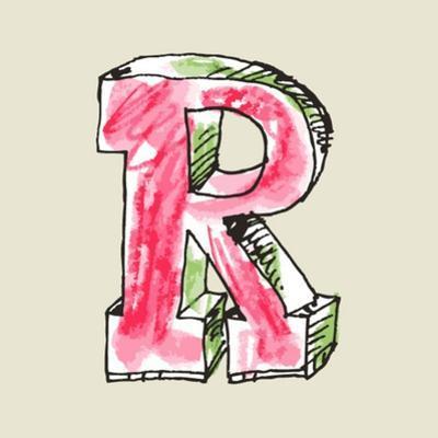Crayon Alphabet, Hand Drawn Letter R by Andriy Zholudyev