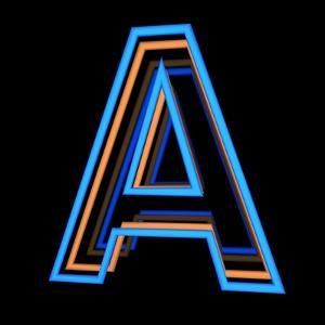 Glowing Letter A Isolated On Black Background by Andriy Zholudyev