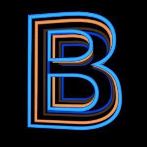 Glowing Letter B Isolated On Black Background by Andriy Zholudyev