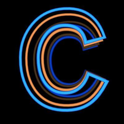 Glowing Letter C Isolated On Black Background by Andriy Zholudyev