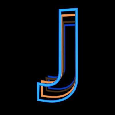 Glowing Letter J Isolated On Black Background
