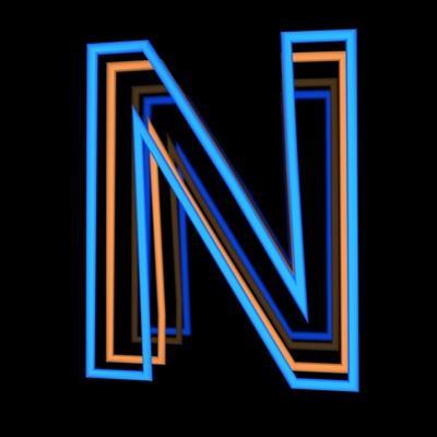 Glowing Letter N Isolated On Black Background by Andriy Zholudyev