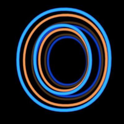 Glowing Letter O Isolated On Black Background by Andriy Zholudyev