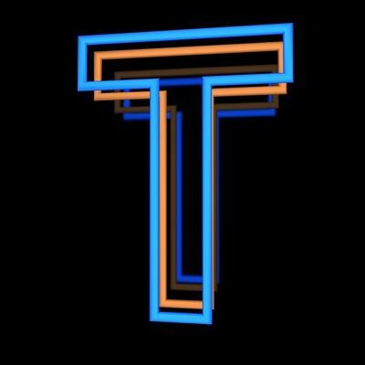Glowing Letter T Isolated On Black Background