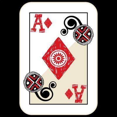 Hand Drawn Deck Of Cards, Doodle Ace Of Diamonds