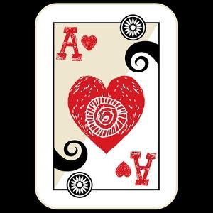 Hand Drawn Deck Of Cards, Doodle Ace Of Hearts by Andriy Zholudyev