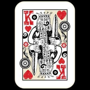 Hand Drawn Deck Of Cards, Doodle King Of Hearts by Andriy Zholudyev