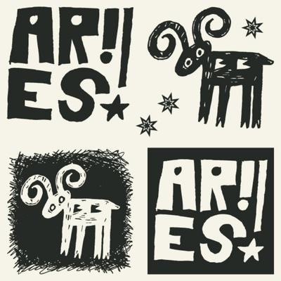 Naive Abstract Horoscope, Hand Drawn Sign Of The Zodiac Aries