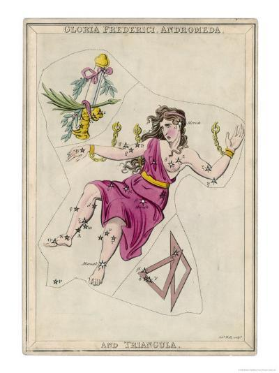 Andromeda (Gloria Federici) in Chains Plus Triangles Constellation-Sidney Hall-Giclee Print