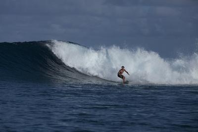 Surfing a Wave Off Tahiti Island