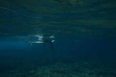Underwater View of a Surfer Sitting on a Surfboard