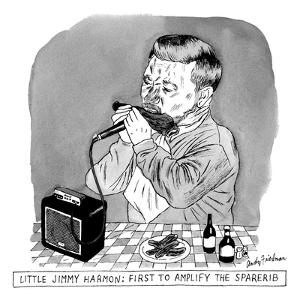 A man sits at a table in front of a plate of ribs, holding a ribs like a h? - New Yorker Cartoon by Andy Friedman