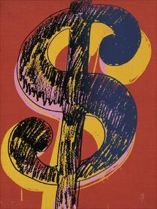 Dollar Sign, 1981 (black and yellow on red) by Andy Warhol