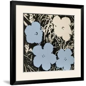 Flowers, 1965 (3 blue, 1 ivory) by Andy Warhol