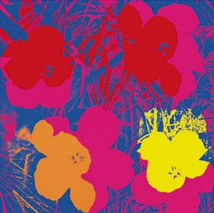 Flowers, 1970 (Red, Yellow, Orange on Blue) by Andy Warhol