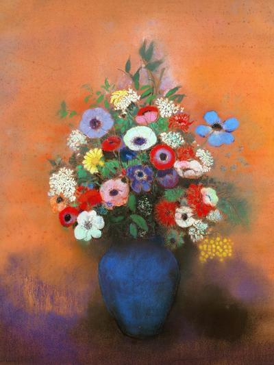 Anemones and Lilacs in a Blue Vase, after 1912-Odilon Redon-Premium Giclee Print