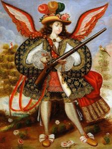 Angel Carrying Arquebus, Peru, Cuzco School, 18th Century