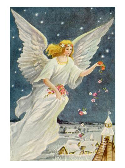 Angel Dropping Flowers--Giclee Print