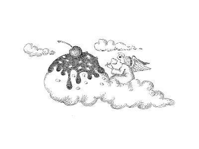 Angel eating ice cream. - Cartoon-John O'brien-Premium Giclee Print