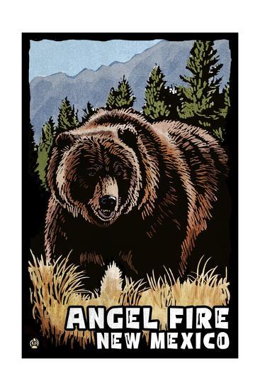 Angel Fire, New Mexico - Grizzly Bear - Scratchboard-Lantern Press-Art Print
