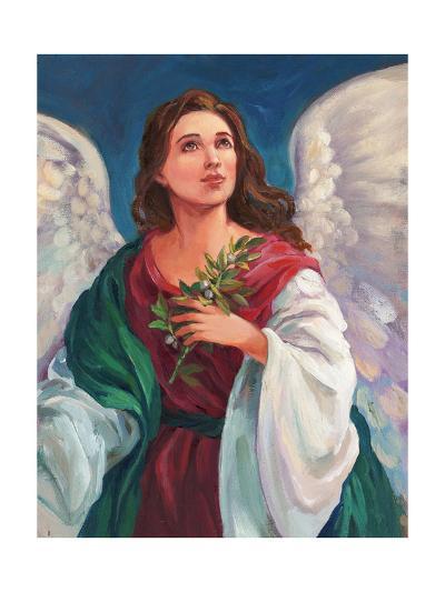 Angel Looking Heavenward with Leafy Branch in Hand--Art Print