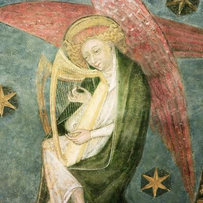 Angel Musician Playing a Harp, Detail from the Vault of the Crypt--Giclee Print