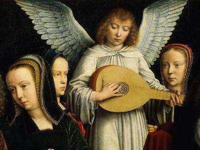 Angel Musician with Saints Agnes (D. 305), Fausta and Apollina (D. C. 248-9)-Gerard David-Giclee Print