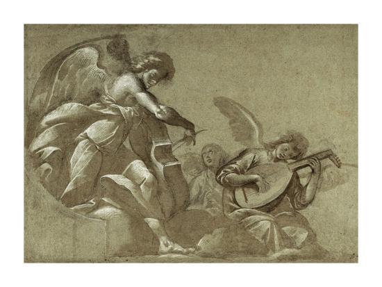 Angel Musicians (recto); Head Studies (verso)-(Pie Francesco Mazzuchelli) Morazzone-Art Print