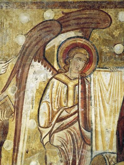 Angel Next to Gospel, Detail from 12th Century Fresco in Church at Abbey of Saint-Andre--Giclee Print