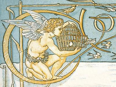 Angel Offering a Wicker Cage with an Open Door Allowing the Song Birds to Escape, Contents Page…-Walter Crane-Giclee Print