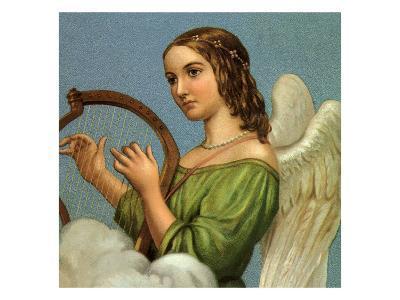 Angel Playing Harp--Giclee Print
