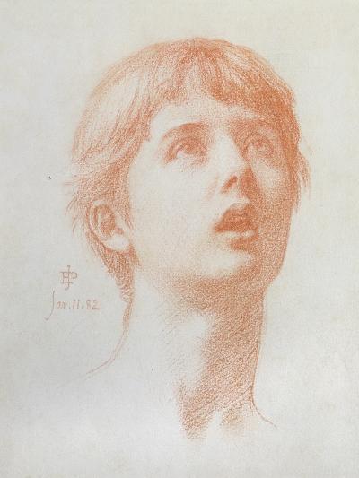 Angel's Head - Study for the Mosaic in St Paul's, 1882-Edward John Poynter-Giclee Print
