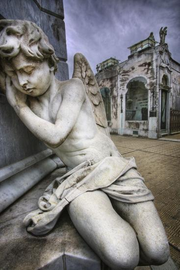 Angel Sculpture in Recoleta Cemetery in Buenos Aires-Jon Hicks-Photographic Print