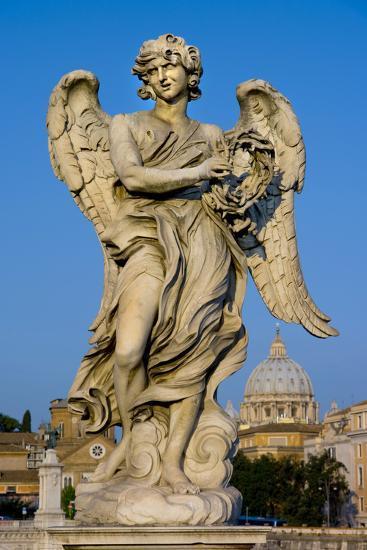 Angel Statue Rome-Charles Bowman-Photographic Print