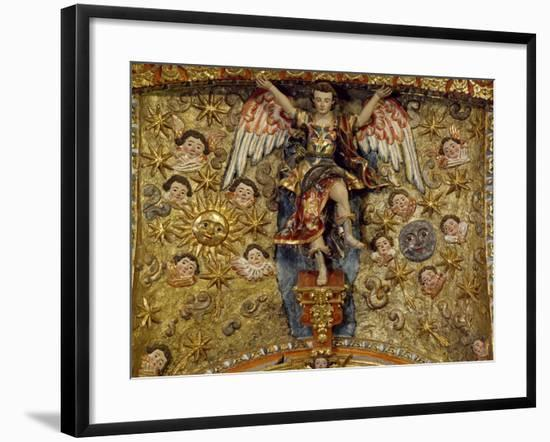 Angel Surrounded by Sun, Moon and Cherubs--Framed Giclee Print