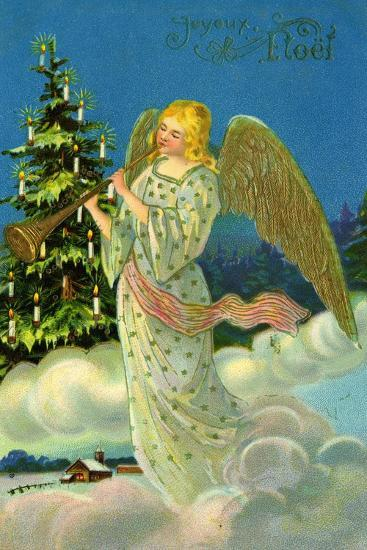 Angel with a Trumpet, French Christmas Card--Giclee Print