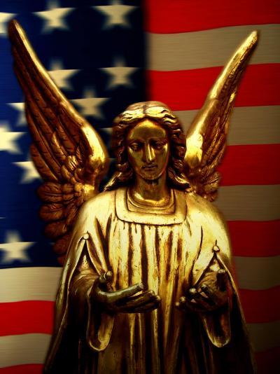 Angel with America Flag as the Background-Abdul Kadir Audah-Photographic Print