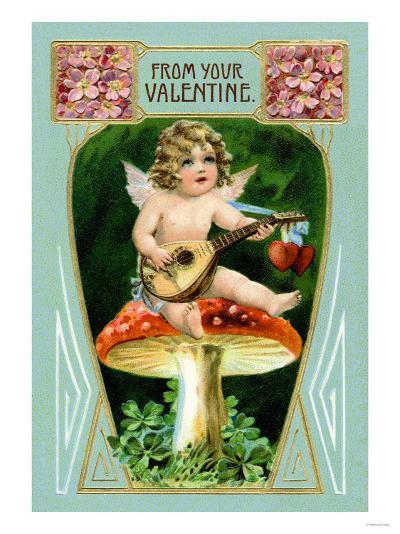 Angel with Mandolin and Mushrooms--Art Print