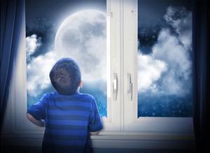 Boy Looking At Night Moon And Stars by Angela_Waye