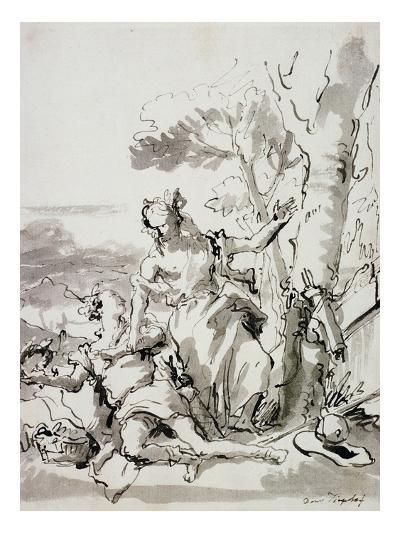 Angelica and Medoro-Domenico Tiepolo-Giclee Print