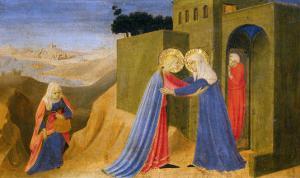 Cortona Altarpiece Showing the Annunciation, Predella: Visitation by Angelico & Strozzi