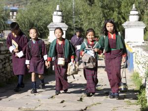 Bhutanese Children Going to School, Paro, Bhutan by Angelo Cavalli