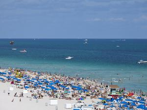 Crowded Beach, South Beach, Miami Beach, Florida, United States of America, North America by Angelo Cavalli