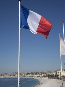 French Flag, Nice, Alpes Maritimes, Provence, Cote d'Azur, French Riviera, France by Angelo Cavalli