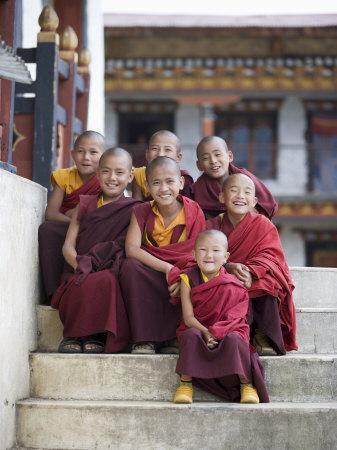 Group of Young Buddhist Monks, Karchu Dratsang Monastery, Jankar, Bumthang, Bhutan