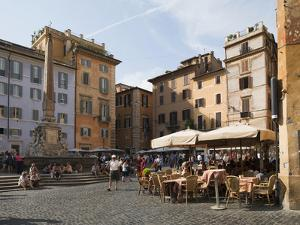 People at Outside Restaurant in Pantheon Square, Rome, Lazio, Italy, Europe by Angelo Cavalli