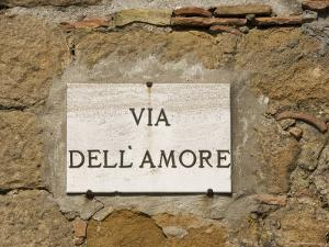 Street Sign, Pienza, Val d'Orcia, Tuscany, Italy, Europe by Angelo Cavalli